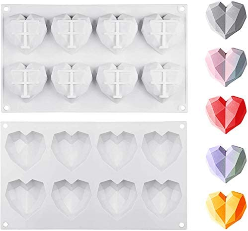 MOTZU 2 Pieces Silicon Molds for Chocolate 8 Cavities Mousse Cake Mold 3D Diamond Love Heart product image