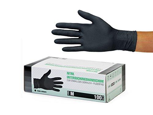 Nitrilhandschuhe 100 Stück Box (M, Schwarz) Einweghandschuhe, Einmalhandschuhe, Untersuchungshandschuhe, Nitril Handschuhe, puderfrei, ohne Latex, unsteril, latexfrei, disposible gloves, black, Medium