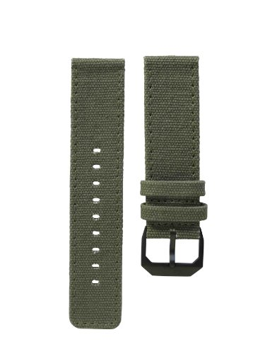 slow - Olive Green Canvas Strap, Black Buckle