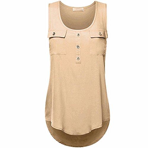 IHEHUA T-Shirt Damen Oberteile Blusen Tuniken Longshirt Lang Basic Rückenfrei Ärmellos Asymetrisch Sommer Alltag Casual Locker Tops Tunika(Khaki,XXL)
