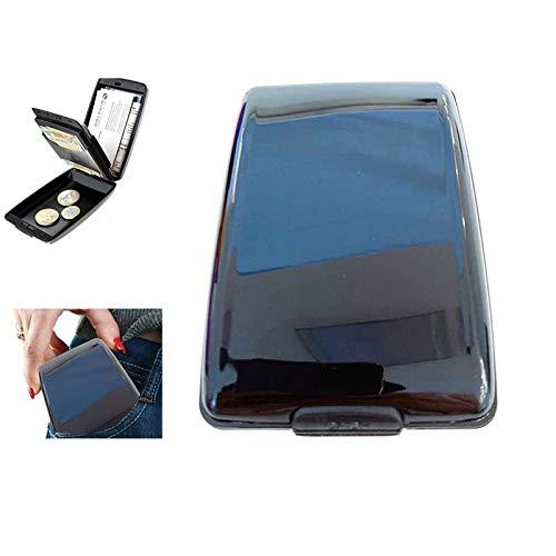 GSJDD Aluminium RFID Scan-geschützter Hartschalenkoffer, Kreditkartenetui für Männer oder Frauen (schwarz)