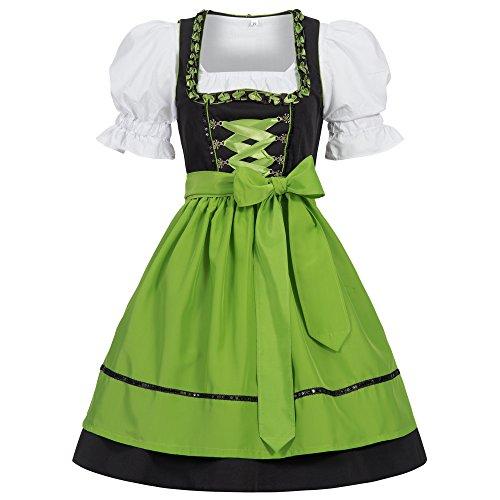 Gaudi-Leathers Damen Dirndl Kleid Dirndlkleid Trachtenkleid Midi Ilona Schwarz Grün 40
