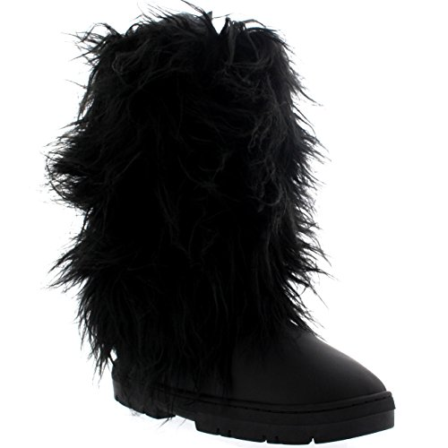 Holly Womens Long Fur Covered Rain Winter Warm Tall Snow Boots - 6 - BLL39 AEA0380