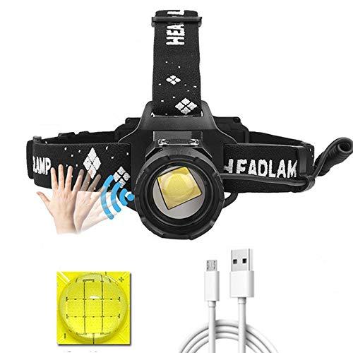 Linterna frontal LED XHP99 recargable, 10000 lúmenes, sensor movimiento de linterna frontal...