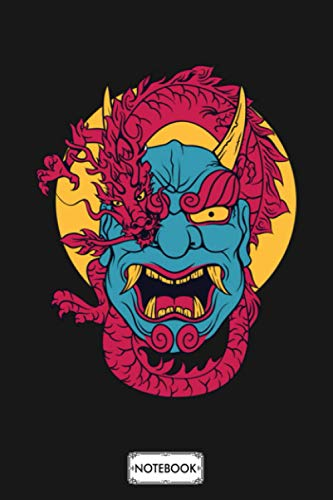 Japanese Demon Oni Face Warrior Spirit Mask Vintage Notebook: Journal, Planner, Diary, Matte Finish Cover, 6x9 120 Pages, Lined College Ruled Paper
