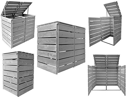 Fairpreis-design Mülltonnenbox Mülltonnenverkleidung Holz 120 L - 240 L hell-grau mit Rückwand vorimprägniert vormontiert Müllcontainer Mülltonnenschrank Mülltonne Alster (2 Tonnen)