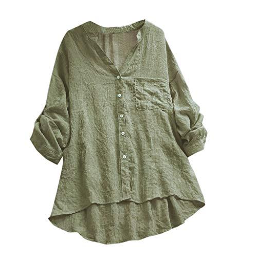 YEBIRAL Damen Bluse V-Ausschnit Langarm Shirt Leinen Einfarbig Lässige Lose Tunika Tops T-Shirt Hemdbluse Große Größen (EU-38/CN-M, H- Grün)