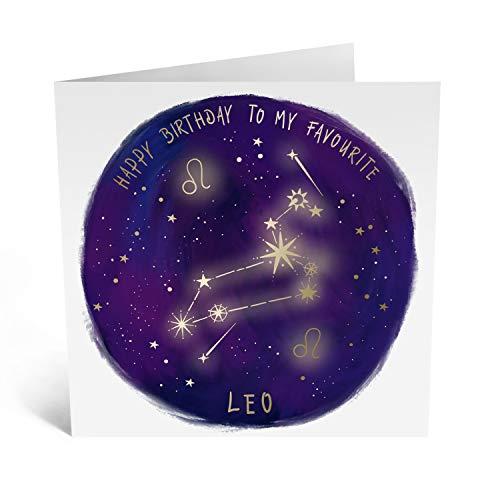 Central 23 – Lustige Geburtstagskarte für Sie – Sternzeichen-Grußkarte für Ihn – Happy Birthday Karte für Freunde – hübsches Design für Löwe – mit lustigen Aufklebern