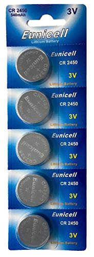 Eunicell 5 x CR2450 3V Lithium Knopfzelle 540 mAh (1 Blistercard a 5 Batterien) EINWEG Markenware