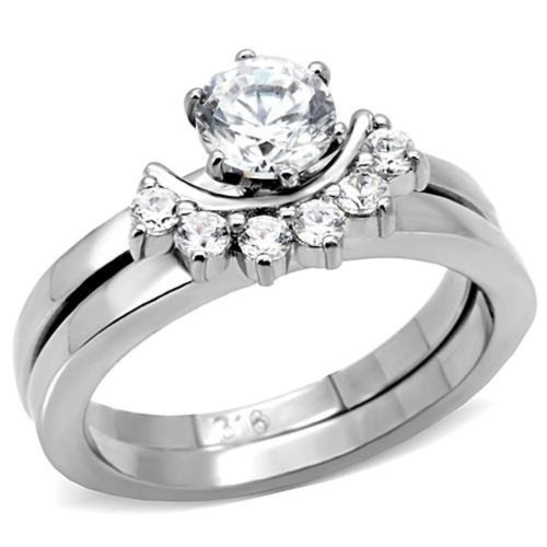 Doublebeez Jewelry Stainless Steel Solitaire Cubic Zirconia Engagement and...