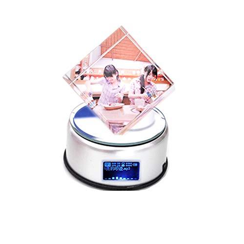 Top WHY Marco de Fotos holográfico 3D Personalizado Personalizado Caja de música Foto Personalizada Cristal Cristal Cubo de Rubik Rotación de 360 ° Decoloración Luminosa Reproductor de música