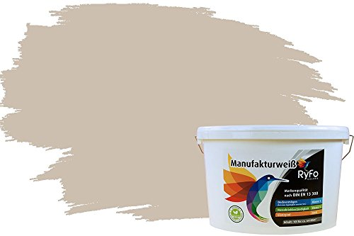 RyFo Colors Bunte Wandfarbe Manufakturweiß Sandbeige 10l - weitere Braun Farbtöne und Größen erhältlich, Deckkraft Klasse 1, Nassabrieb Klasse 1