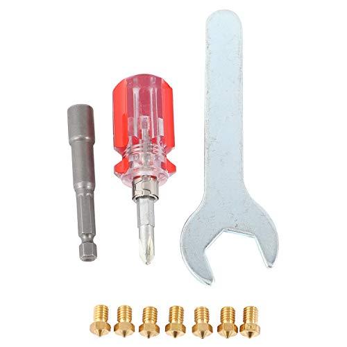 Ctzrzyt 3D Printer Nozzles + 4 DIY Tools for J-Head V5 V6 0.2mm 0.3mm 0.4mm 0.5mm 0.6mm 0.8mm Nozzle Tool for Nozzle Replacement,Spanner,Installation Tools