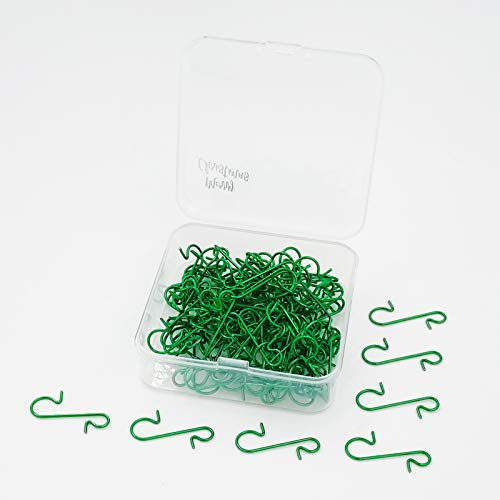 Pinkswan 120 Pack Christmas Ornament Hooks, Xmas Ornament Hangers Metal Wire Hooks S-Shaped for Christmas Tree Party Balls Decoration (Green)