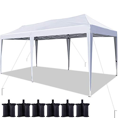 Quictent 10x20 ft Ez Pop up Canopy Tent Instant Shelter Party Tent Outdoor Event Gazebo Waterproof with 6 Sand Bags (White)