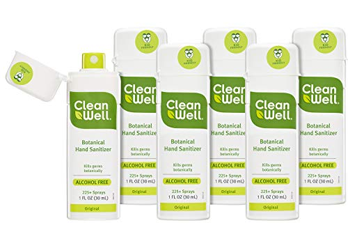 CleanWell Botanical Hand Sanitizer Spray, Citrus Thyme, 1 fl oz (6 PK) - Travel Size, Alcohol Free, Antibacterial, Kid Friendly, Plant-Based, Nontoxic, Cruelty Free, Moisturizing Formula