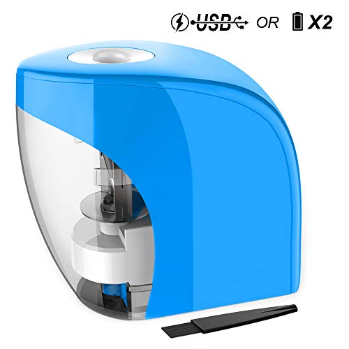 Electric Pencil Sharpener Automatic Sharpener for No.2 Pencils and Colored Pencils (6-8mm) with Auto Stop Feature & Extra Cleaning Brush, USB/Battery Operated in Home/Classroom/Office (Blue)