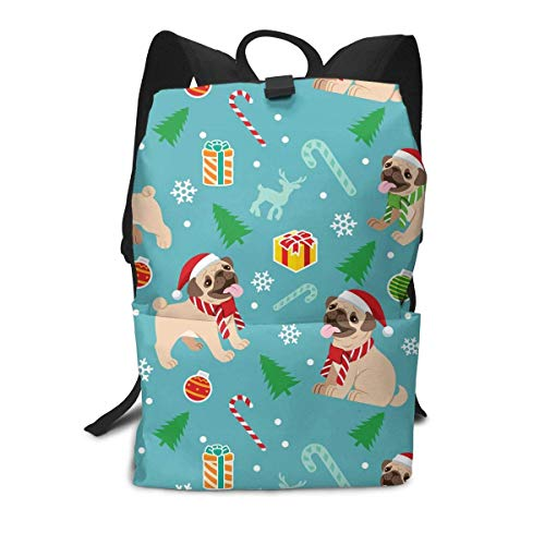 Homebe Pug Cute Charm Gift Blue Mochila Unisex, Mochilas y Bolsas School Travel Hiking Small Gym Teen Little Girls Youth Boy Women Men Kids Backpack Mini Book Back Bag Bookbag