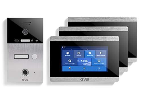 GVS AVS5027A - Videoportero de 4 cables/IP, IP65, RFID, Fingerprint, 3 monitores de 7 pulgadas, aplicación, cámara HD 120°, apertura de puerta, 32 GB de memoria, conmutador PoE, 1 juego familiar