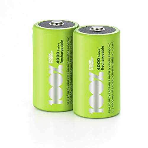 100% PeakPower Akku D, 2 Stück LR20 Akku NiMH, D Akku-Batterien mit LSD Technologie, Ready2Use, bereits vorgeladen, Typ Monozelle HR20 wiederaufladbar, Kapazität 4000mAh, 1,2V