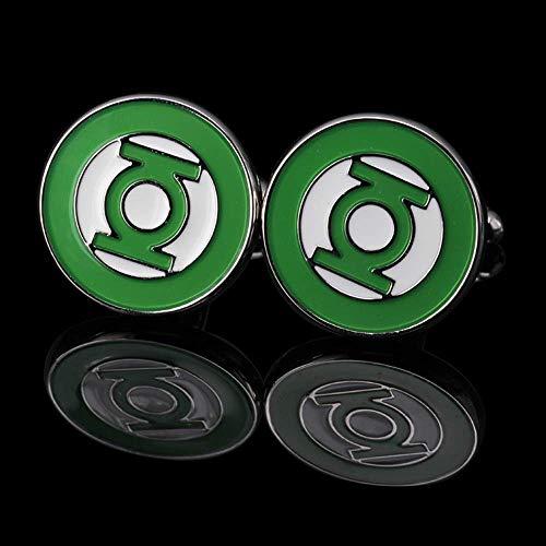 WSDXK Green Lantern Shirt Manschettenknopf Für Mens Square Brand Manschettenknöpfe Manschettenknöpfe Hochwertige SilberSchmuck Abotoaduras