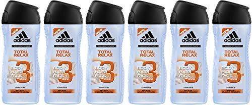 adidas Total Relax Duschgel für Herren 3-in-1, Erfrischende Reinigung von Körper, Haaren & Gesicht, pH-hautfreundlich, 1 x 250 ml