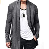 YXGS Casual Loose Solid Color Long Sleeves Men's Cardigan with Two Pockets Simple All-Match Style m by samladiy