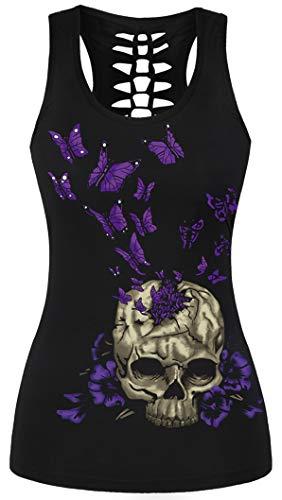 Ocean Plus Mujer Cráneo Camiseta de Tirantes Deporte Wrap Camisetas sin Mangas Gótico Tops Camisa Cuello en U Halloween Secado Rápido Camisa (L/XL (Pecho: 74-92 cm), Cráneo Mariposa púrpura)