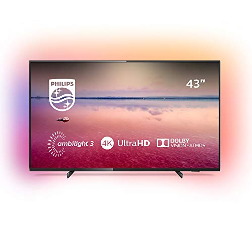 Philips 43PUS6704/12 - Televisor Smart TV LED 4K UHD, 43 pulgadas, Ambilight 3 lados, HDR 10+, Dolby Vision, Dolby Atmos, color negro