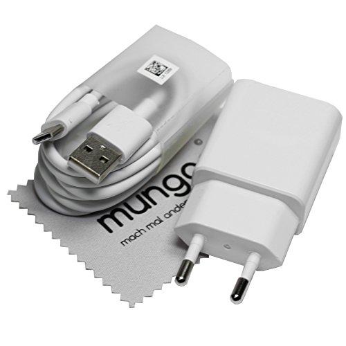Ladegerät für Original Huawei 2A Weiß Ladekabel AP51 Typ-C für Huawei P20, P20 lite, P20 Pro, Mate 20, Mate Pro, Mate 10, P10, P10 Plus, P9, P9 Plus, Honor 10, MediaPad M5 mit mungoo Displayputztuch