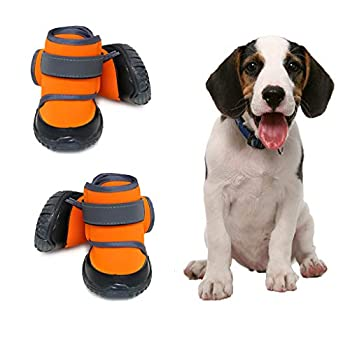 JiAmy Chaussures pour Chien Bottes imperméables pour Chien Snow Dog Booties Protection des Pattes avec Semelle antidérapante, pour Beagle, Petit Bouledogue, Cocker Spaniel, Corgi