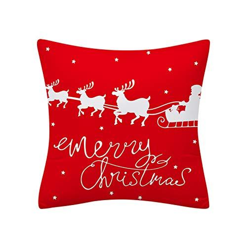 my cat Funda de Cojín de Navidad 45x45 Funda de Almohada Poliéster Feliz Navidad Impreso Sofá Cojines Decorativos Fundas de Almohada Decoración del Hogar Decor-021