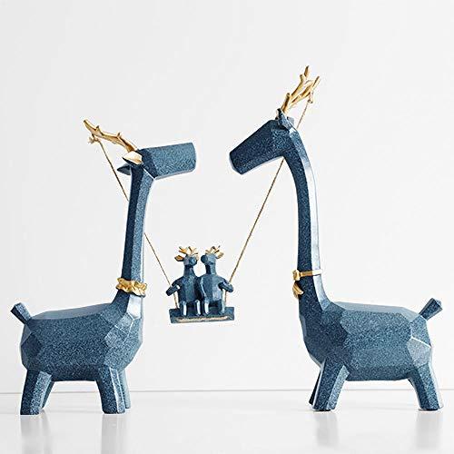 JYJYJY Escultura Decoración Figuritas Resina Ciervos Familia Miniatura Escultura Moden Animales Lindos Adornos para El Hogar Oficina Decoraciones Estatua Estatuilla Decoración Industrial
