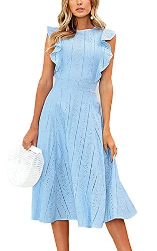 ECOWISH Womens Dresses Elegant Ruffles Cap Sleeves Summer A-Line Midi Dress Blue S (Apparel)