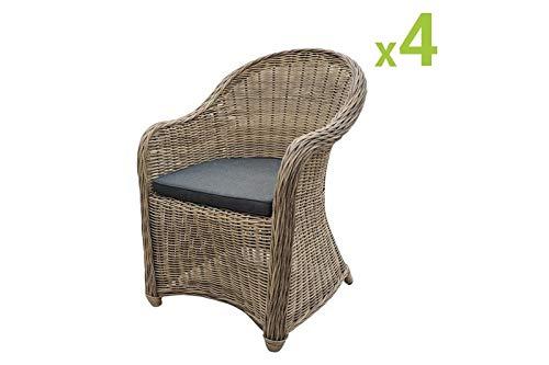 Au jardin de Chloé | Lot de 4 fauteuils de Jardin en résine tressée Ronde CLEA en Osier Naturel