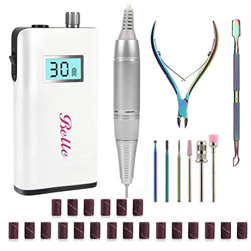 Rechargeable 30000 rpm Nail Drill Kit Belle Portable Electric Nail File Set for Acrylic Nails Professional Efile Kit for Manicure Pedicure Nail Art Accessories for Home Salon Use