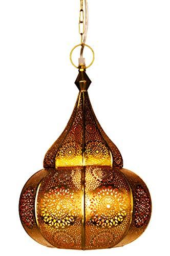 Orientalische Lampe Pendelleuchte Gold Ilham 40cm E27 Lampenfassung | Marokkanische Design Hängeleuchte Leuchte aus Marokko | Orient Lampen für Wohnzimmer Küche oder Hängend über den Esstisch