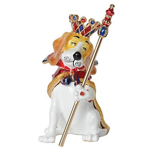 WMYATING El joyero Tiene una Forma novedosa y única, un DIS Jewelry Box Prince Dog con Crown Tinket Box Caja de Recuerdo Soporte de Joyería de Metal Contenedor Regalos Lover