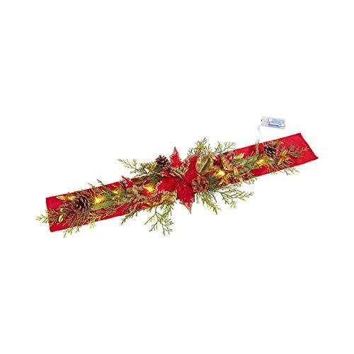 Unbekannt TRI LED-Weihnachtsläufer Christstern, Tischdecke Tischläufer mit Tannenzapfen Pinienzweigen Sterne & LEDs, Weihnachten Dekoration
