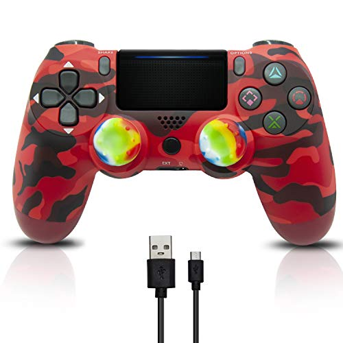 Xmas Wireless PS4 Controller - PS4 Wireless Controller Remote for Playstation 4,2020 Christmas Mando Control PS4 Joystick with 4 Raimbow Thumb Stick Caps