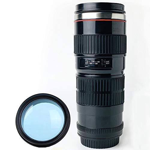 Tmango Taza de café con lente de cámara con tapa translúcida, acero inoxidable, 15 onzas, color negro