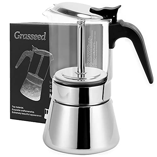 Grasseed Luxurious Crystal Glass & Stainless Steel Moka Pot, Stovetop Espresso Maker for Flavored Strong Coffee, Italian Cafetera suitable for all types of hobs-Dishwasher Safe-9 Espresso Cup/360 ml/12.7 oz