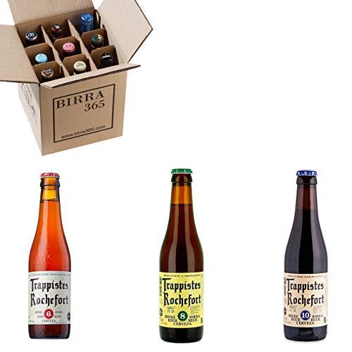 Caja degustación 9 cervezas trapenses especiales Trappistes Rochefort. Sorprendentes cervezas de abadía trapense únicas por su sabor y calidad.