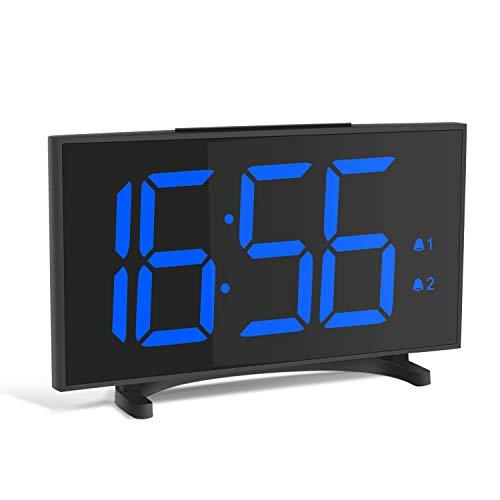 YISSVIC Despertador Digital Reloj Despertador con 6,5 Gran Pantalla LED Equipado con 2 Alarmas Función de Snooze y Brillo Ajustable de 6 Niveles Formatos 12/24 Horas Incluye Cable USB