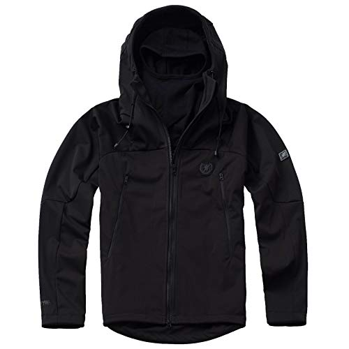 PG Wear Herren Full Face Softshelljacke Shadow mit Sturmhaube in schwarz Navy grau S-XXXL (L, Schwarz)