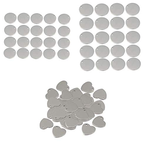 joyMerit 90x Corazón Etiqueta en Blanco Encantos de Estampado de Acero