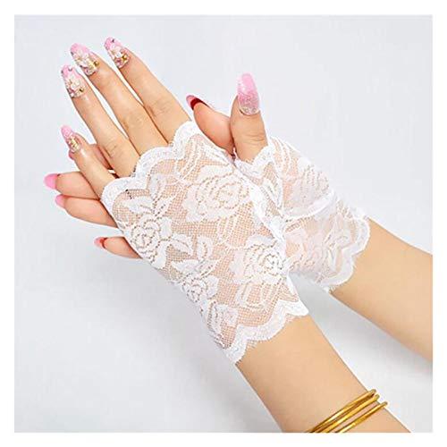 JYDZSW Summer sun protection gloves Dance Long Fingerless Womens Lace Gloves Ladies Half Finger Fishnet Gloves Heated Mesh Mitten Handschoenen (Color : White A)