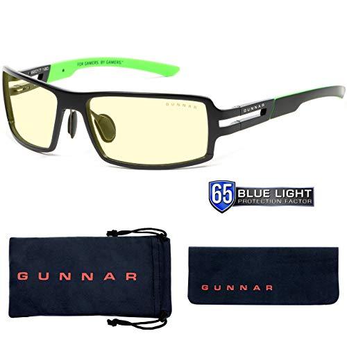 Gunnar Optiks Gaming Glasses | Blue Light Blocking Glasses | Razer RPG Onyx by Gunnar | 65% Blue Light Protection, 100% UV Light, Anti-Reflective To Protect & Reduce Eye Strain & Dryness, Amber Lens, Adult (RZR-30001)