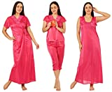 Noty Women's Satin Nighty - 4 Pc Set- Nighty/Robe/Top/Capri