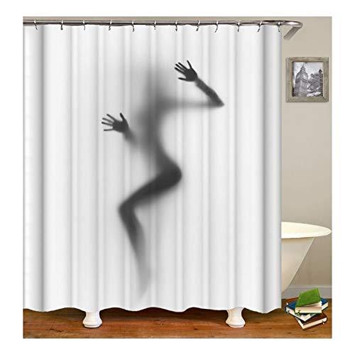 AnazoZ Duschvorhang Anti-Schimmel, Wasserdicht Badewanne Vorhänge Antibakteriell, Bad Vorhang für Dusche 3D Frau Nackt, 100prozent PEVA, inkl. 12 Duschvorhangringen 90 x 180 cm